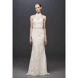 Melissa Sweet Ivory Lace Halter Wedding Dress